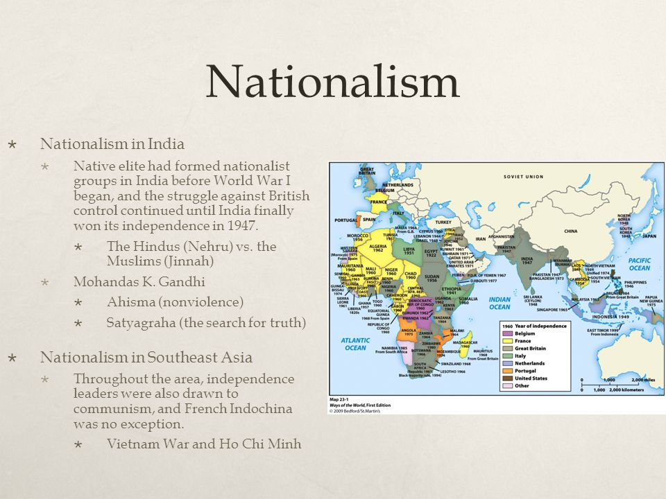 Nationalism  Nationalism in India  Native elite had formed nationalist groups in India before World War I began, and the struggle against British co