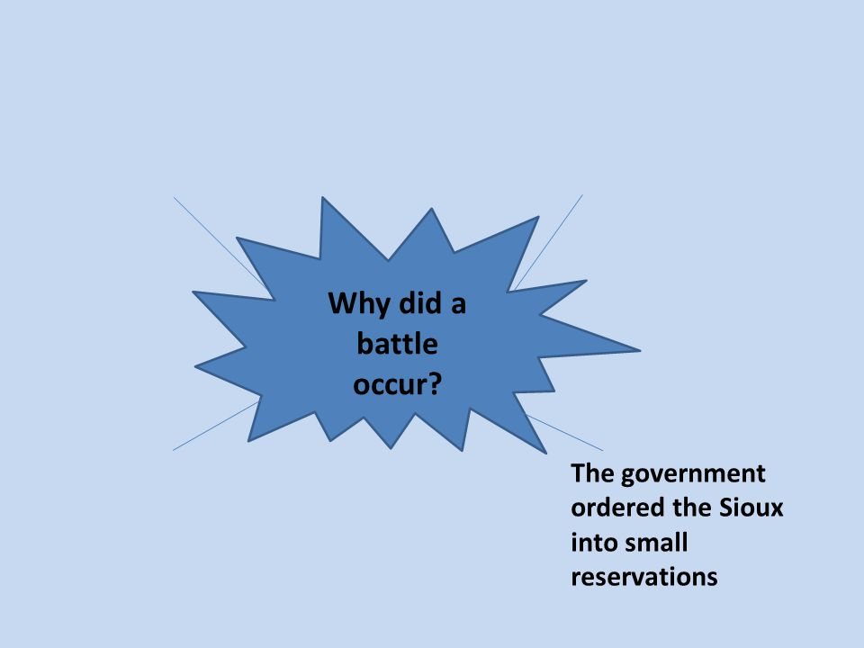 Why did a battle occur? The government ordered the Sioux into small reservations