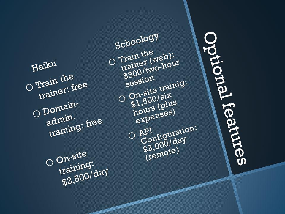 Optional features Haiku o Train the trainer: free o Domain- admin.