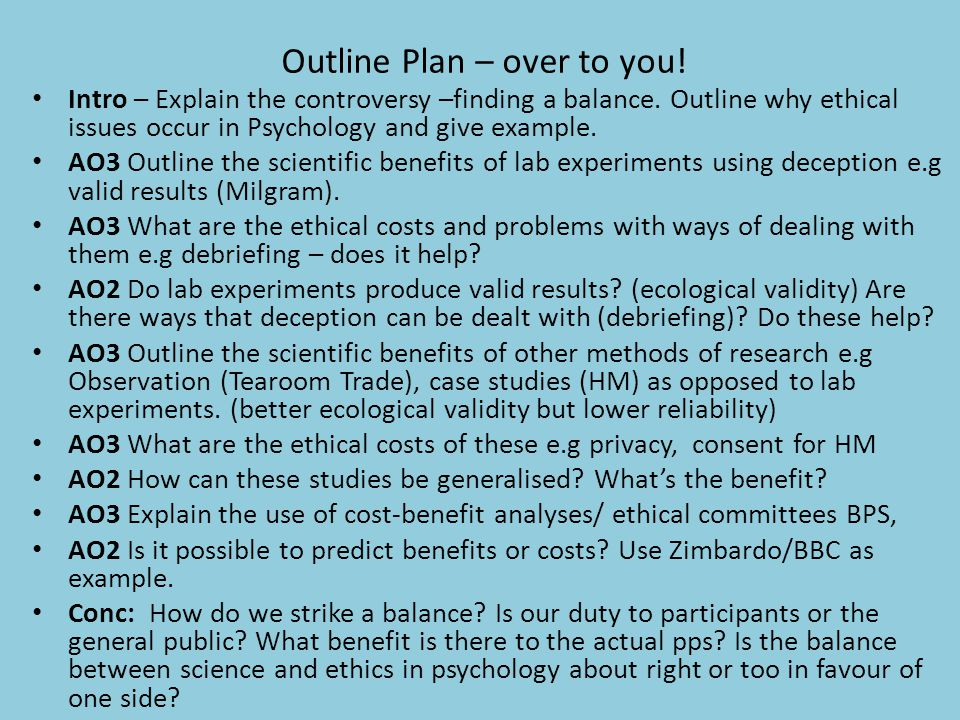 Outline Plan – over to you! Intro – Explain the controversy –finding a balance. Outline why ethical issues occur in Psychology and give example. AO3 O