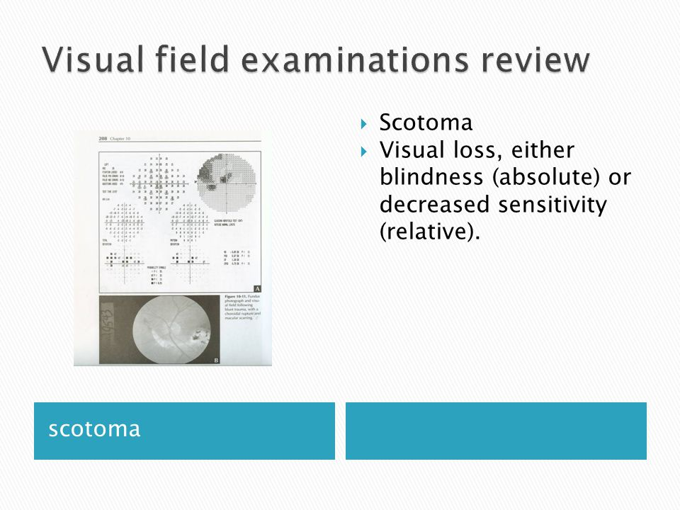 scotoma  Scotoma  Visual loss, either blindness (absolute) or decreased sensitivity (relative).