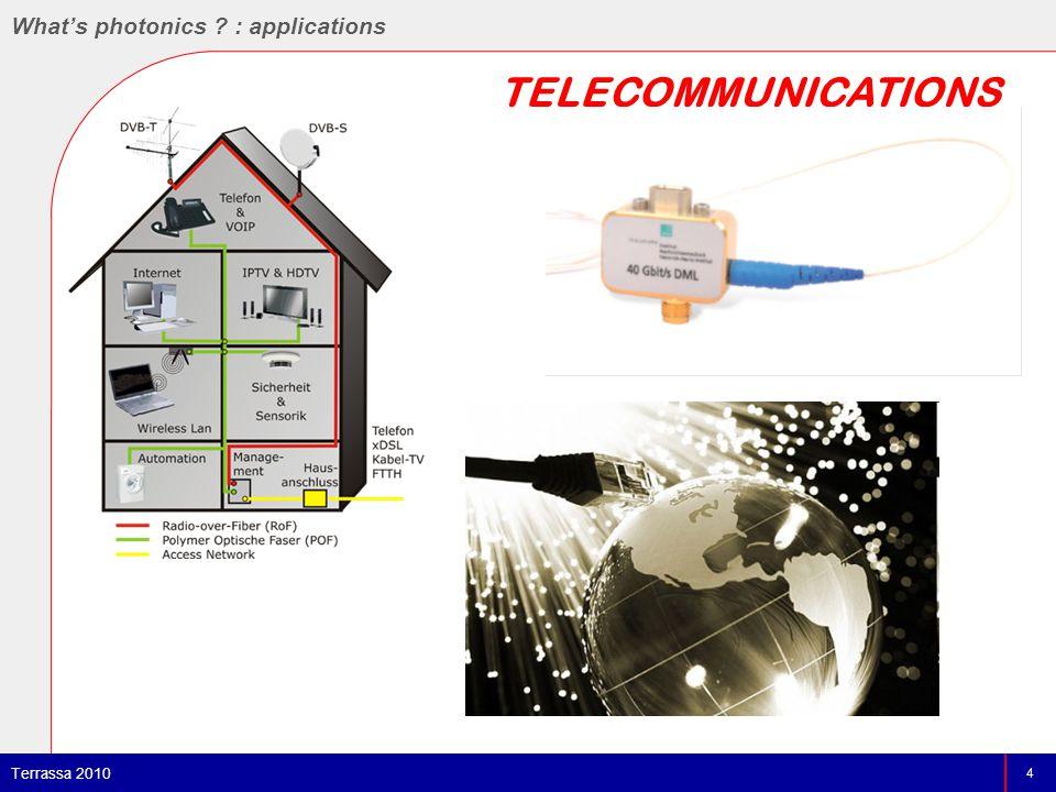 TELECOMMUNICATIONS 4 Terrassa 2010 What's photonics : applications