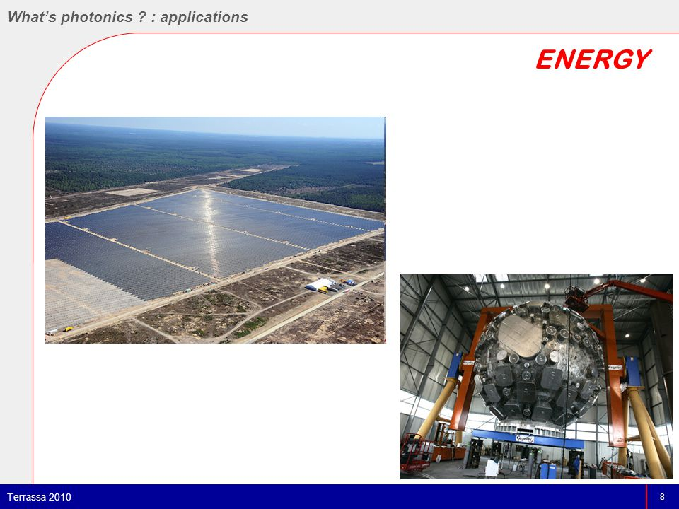 ENERGY 8 Terrassa 2010 What's photonics : applications