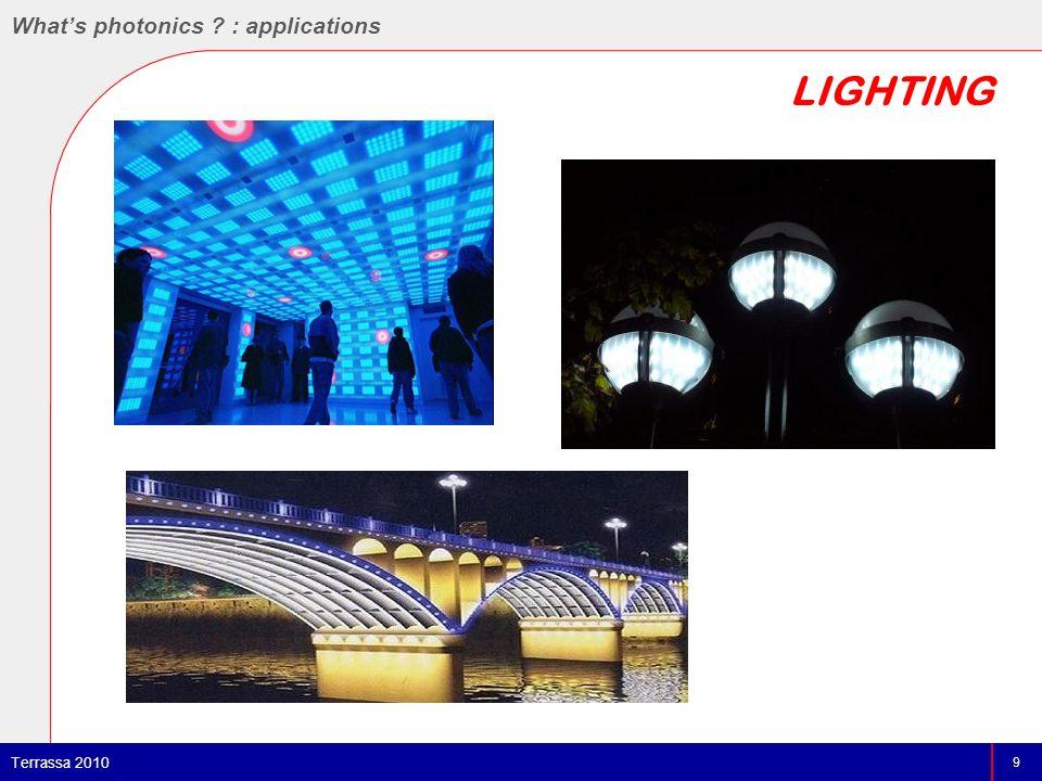 LIGHTING 9 Terrassa 2010 What's photonics : applications