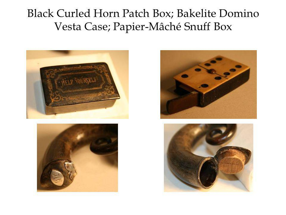 Black Curled Horn Patch Box; Bakelite Domino Vesta Case; Papier-Mâché Snuff Box