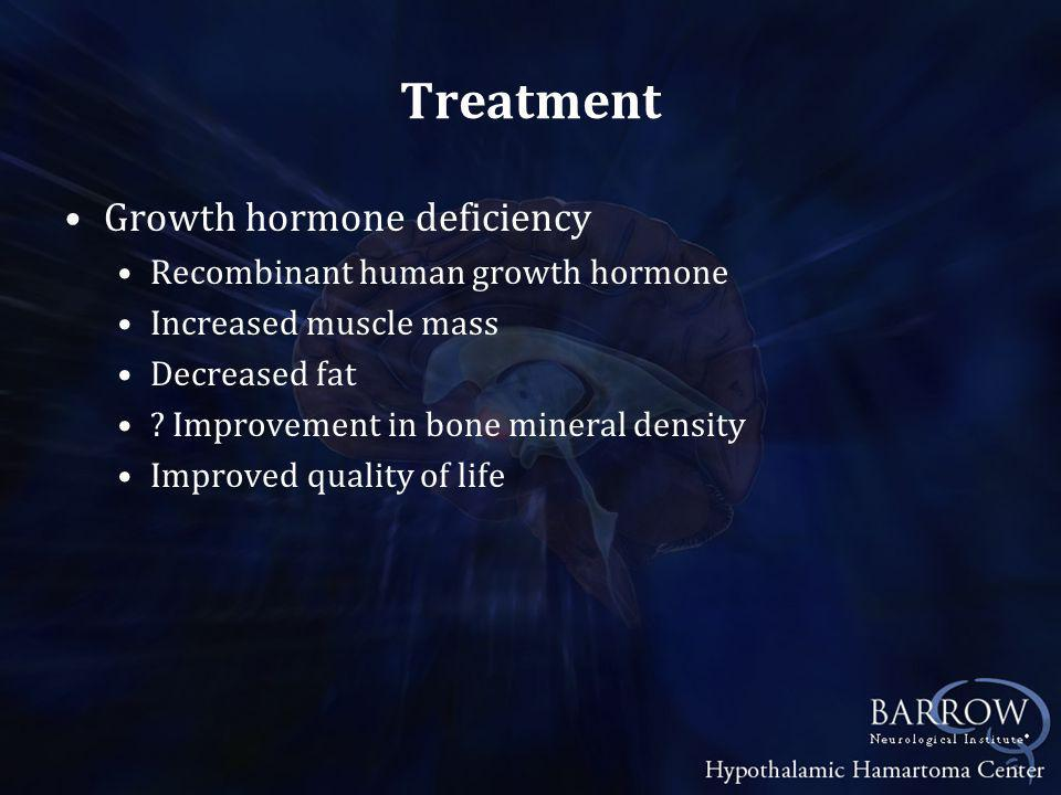 Treatment Growth hormone deficiency Recombinant human growth hormone Increased muscle mass Decreased fat .