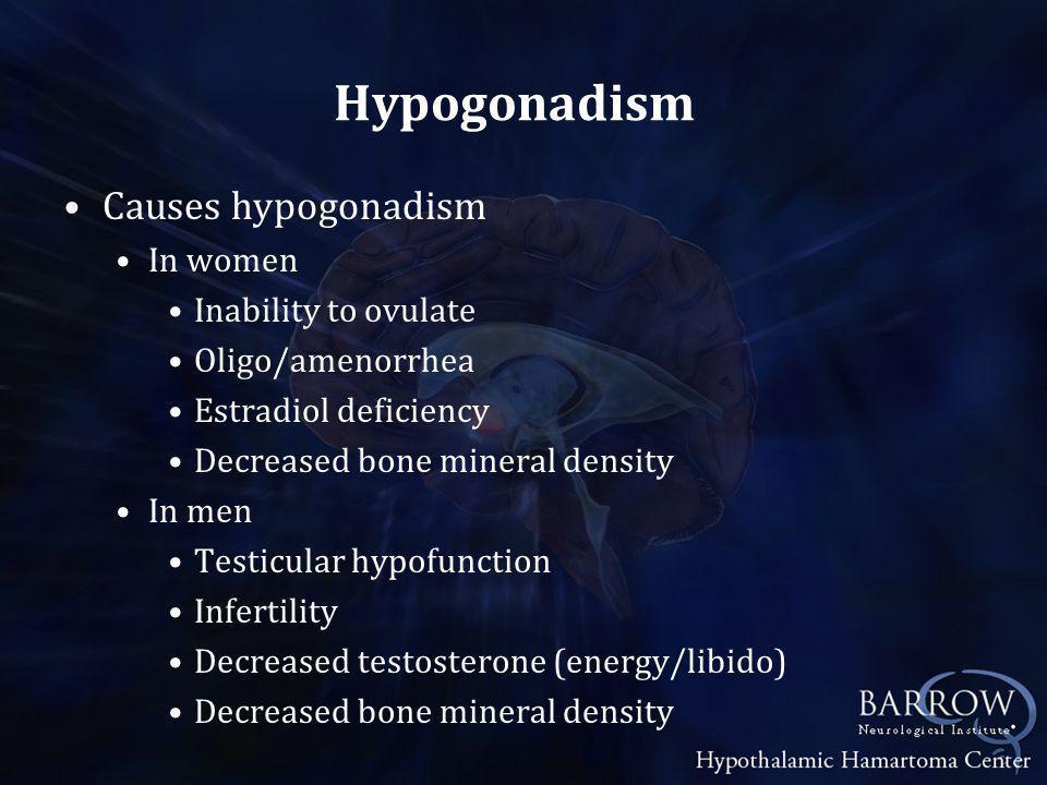 Hypogonadism Causes hypogonadism In women Inability to ovulate Oligo/amenorrhea Estradiol deficiency Decreased bone mineral density In men Testicular hypofunction Infertility Decreased testosterone (energy/libido) Decreased bone mineral density