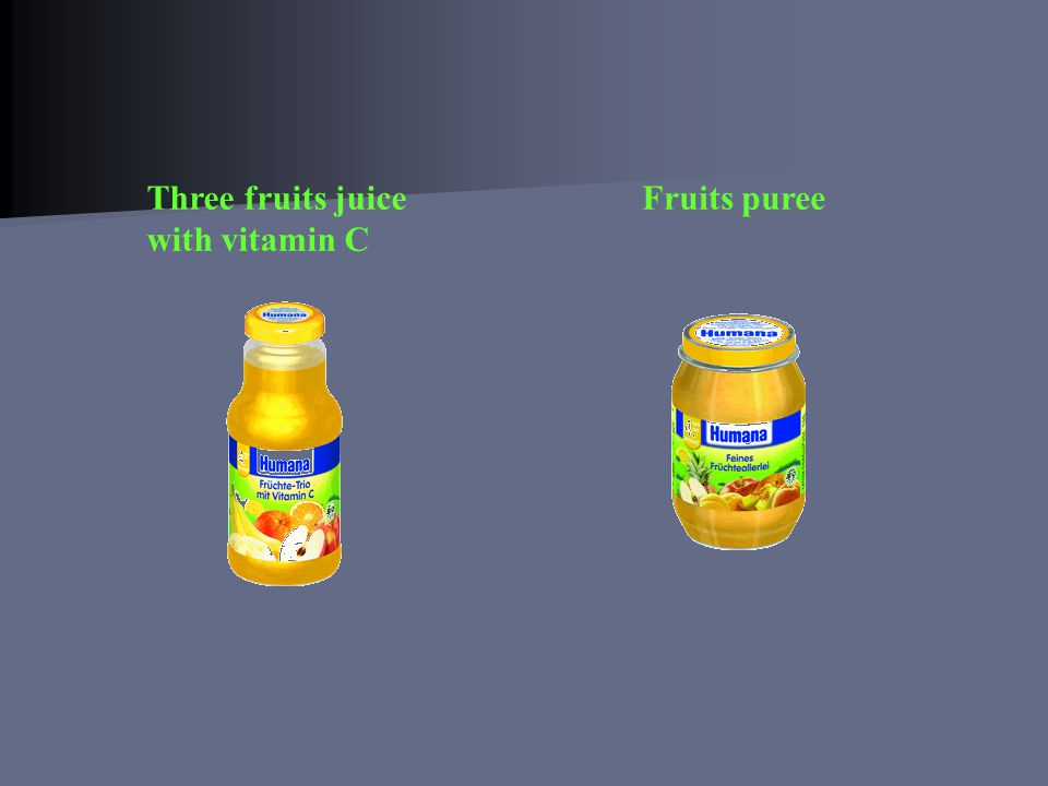 Three fruits juice with vitamin C Fruits puree