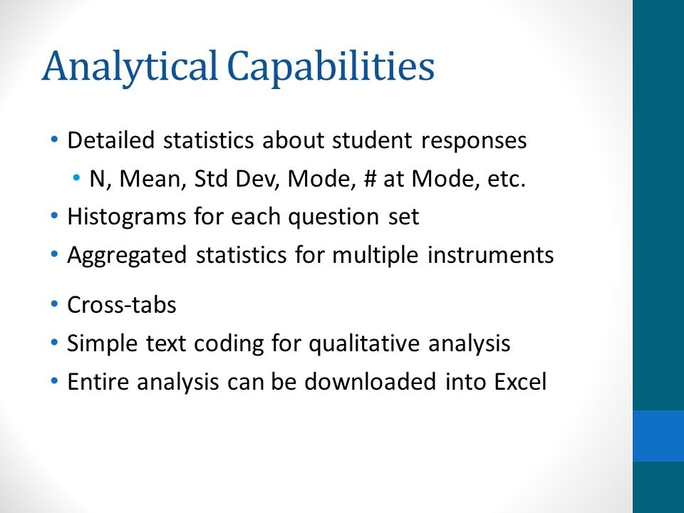 Analytical Capabilities Detailed statistics about student responses N, Mean, Std Dev, Mode, # at Mode, etc.