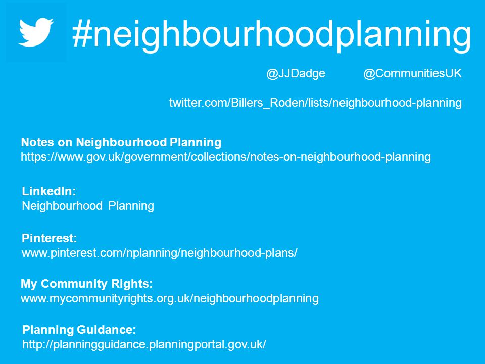 #neighbourhoodplanning Planning Guidance:   My Community Rights:   LinkedIn: Neighbourhood Planning twitter.com/Billers_Roden/lists/neighbourhood-planning Pinterest:   Notes on Neighbourhood Planning