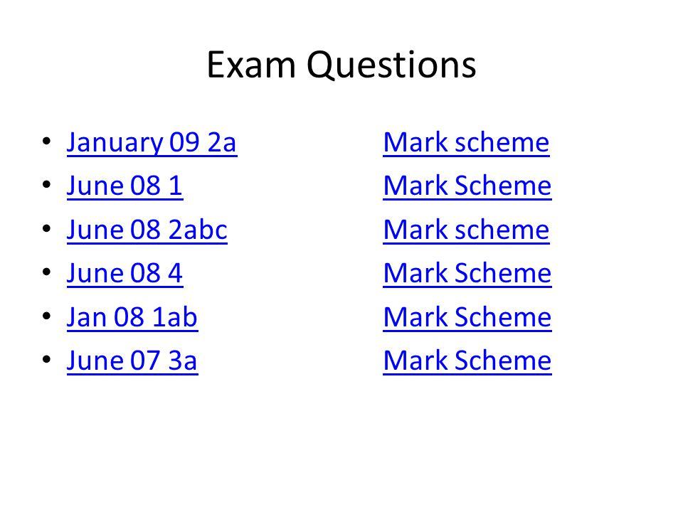 Exam Questions January 09 2aMark scheme January 09 2aMark scheme June 08 1Mark Scheme June 08 1Mark Scheme June 08 2abcMark scheme June 08 2abcMark scheme June 08 4Mark Scheme June 08 4Mark Scheme Jan 08 1abMark Scheme Jan 08 1abMark Scheme June 07 3aMark Scheme June 07 3aMark Scheme