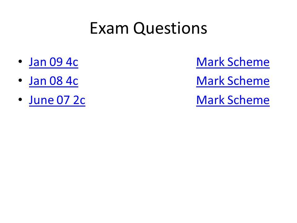 Exam Questions Jan 09 4cMark Scheme Jan 09 4cMark Scheme Jan 08 4cMark Scheme Jan 08 4cMark Scheme June 07 2cMark Scheme June 07 2cMark Scheme