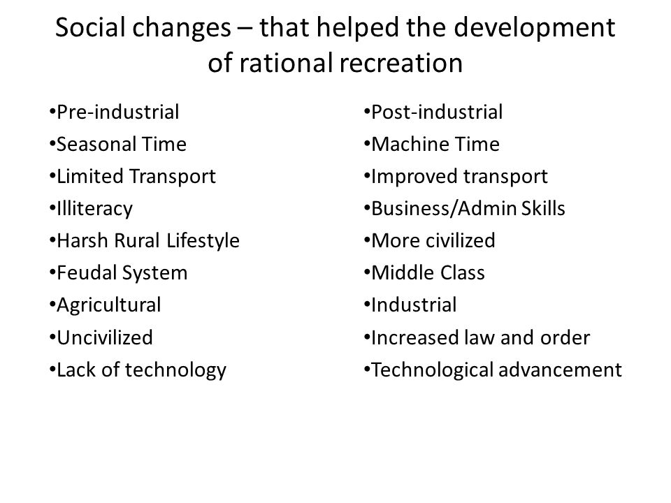 Social changes – that helped the development of rational recreation Pre-industrial Seasonal Time Limited Transport Illiteracy Harsh Rural Lifestyle Feudal System Agricultural Uncivilized Lack of technology Post-industrial Machine Time Improved transport Business/Admin Skills More civilized Middle Class Industrial Increased law and order Technological advancement