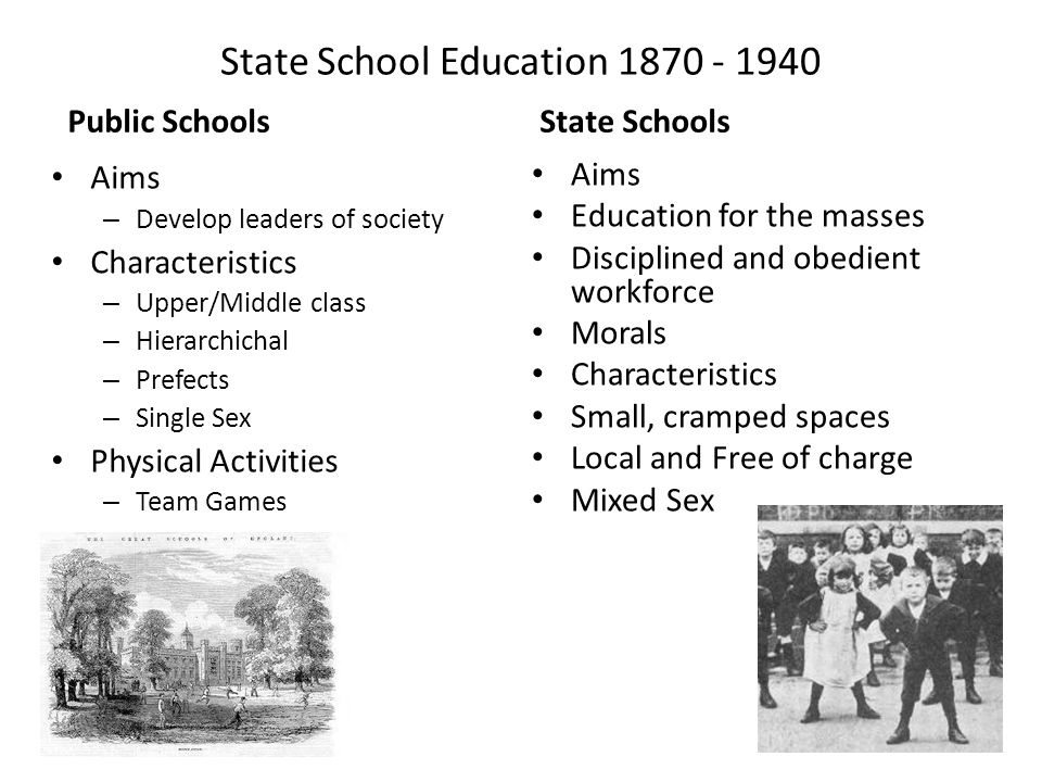 State School Education 1870 - 1940 Public Schools Aims – Develop leaders of society Characteristics – Upper/Middle class – Hierarchichal – Prefects –