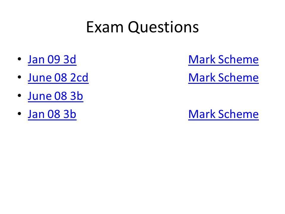 Exam Questions Jan 09 3dMark Scheme Jan 09 3dMark Scheme June 08 2cdMark Scheme June 08 2cdMark Scheme June 08 3b Jan 08 3bMark Scheme Jan 08 3bMark Scheme