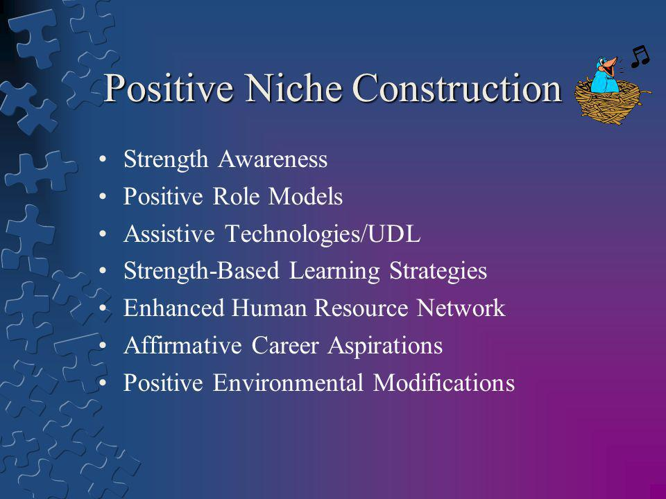 Positive Niche Construction Strength Awareness Positive Role Models Assistive Technologies/UDL Strength-Based Learning Strategies Enhanced Human Resou