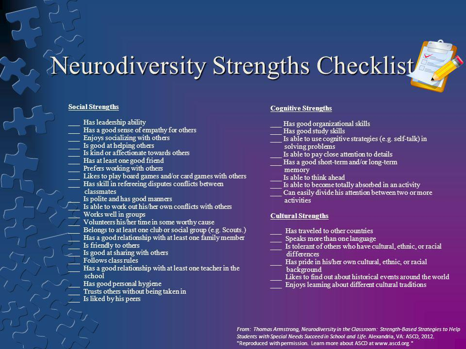 Neurodiversity Strengths Checklist Social Strengths ___ Has leadership ability ___ Has a good sense of empathy for others ___ Enjoys socializing with