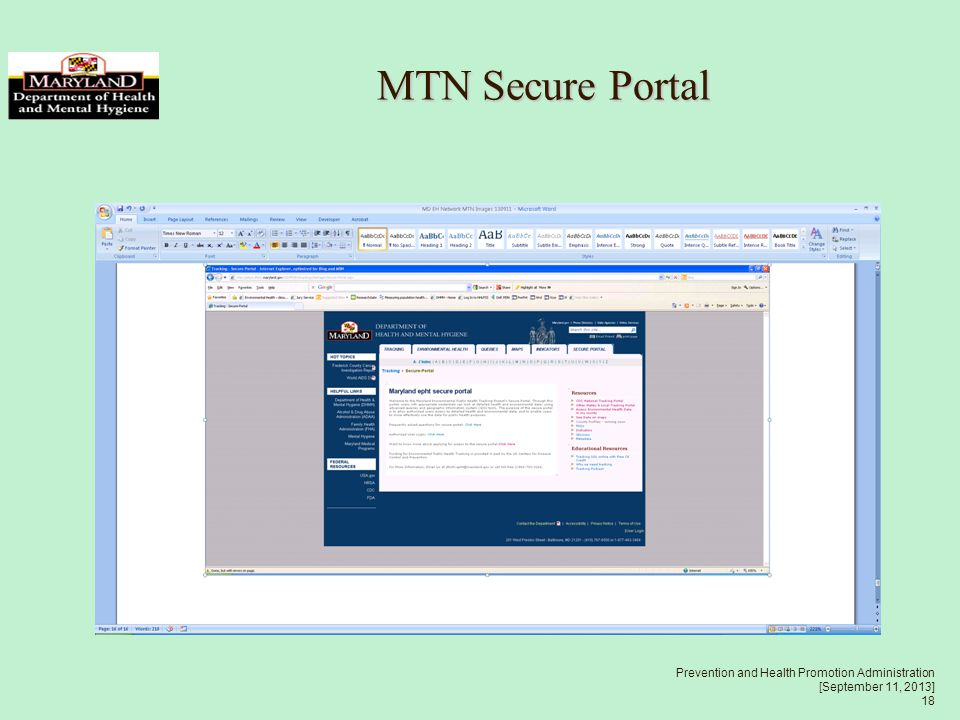 Prevention and Health Promotion Administration [September 11, 2013] 18 MTN Secure Portal