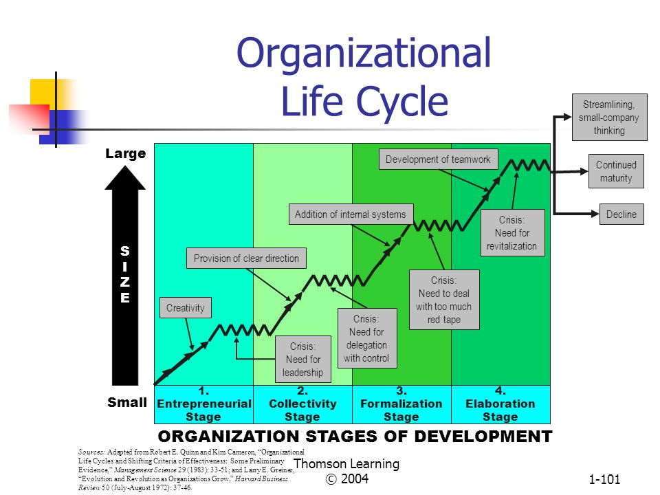 Thomson Learning © 20041-100 Differences Between Large and Small Organizations LARGE Economies of scale Global reach Vertical hierarchy Mechanistic Complex Stable market Career longevity and stability SMALL Responsive Flexible Regional reach Flat structure Organic Simple Niche finding Entrepreneurs Source: Based on John A.