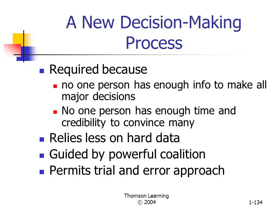 Thomson Learning © 20041-133 Decisions Made Inside the Organization Complex, emotionally charged issues More rapid decisions Less certain environment Less clarity about means/outcomes Requires more cooperation