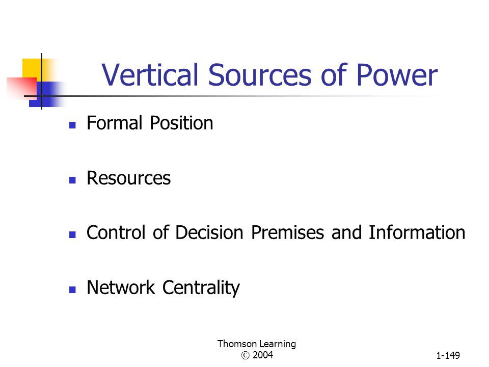 Thomson Learning © 20041-148 Power vs. Authority POWER Ability to influence others to bring about desired outcomes AUTHORITY Flows down the vertical h