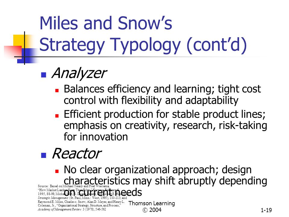 Thomson Learning © 20041-18 Miles and Snow's Strategy Typology Prospector Learning orientation; flexible, fluid, decentralized structure Strong capabi