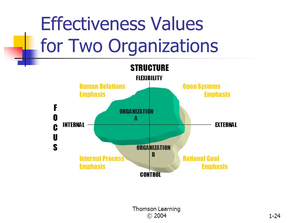 Thomson Learning © 20041-23 Four Models of Effectiveness Values Human Relations Emphasis Primary Goal: human resource development Subgoals: cohesion, morale, training Internal Process Emphasis Primary Goal: stability, equilibrium Subgoals: information management, communication Rational Goal Emphasis Primary Goal: productivity, efficiency, profit Subgoals: planning, goal setting Open Systems Emphasis Primary Goal: growth, resource acquisition Subgoals: flexibility, readiness, external evaluation Flexibility Control Internal External STRUCTURE FOCUSFOCUS Adapted from Robert E.