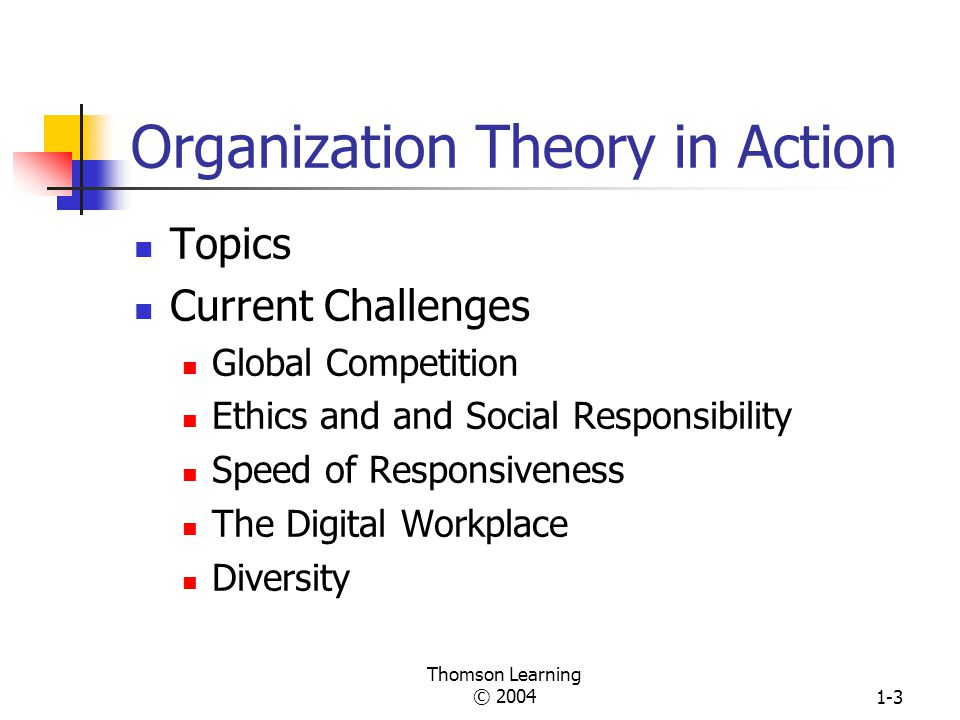 Thomson Learning © 20041-2 Chapter One Organizations and Organization Theory