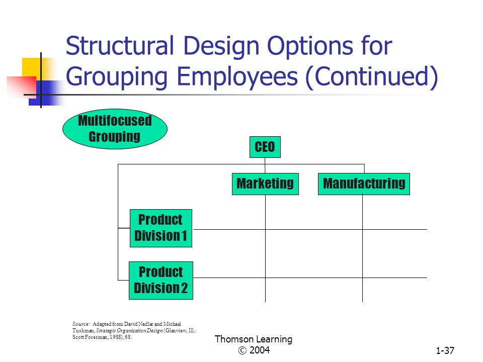 Thomson Learning © 20041-36 Reorganization from Functional Structure to Divisional Structure at Info-Tech R&DManufacturingAccountingMarketing Info-Tech President Functional Structure Divisional Structure