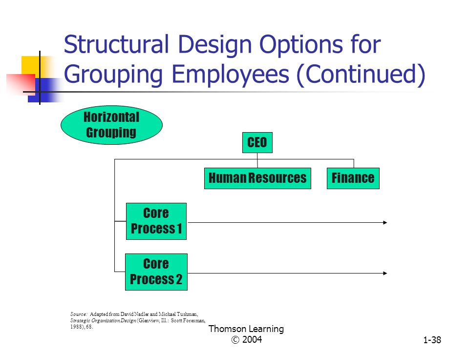 Thomson Learning © 20041-37 Structural Design Options for Grouping Employees (Continued) Multifocused Grouping CEO ManufacturingMarketing Product Division 2 Product Division 1 Source: Adapted from David Nadler and Michael Tushman, Strategic Organization Design (Glenview, Ill.: Scott Foresman, 1988), 68.