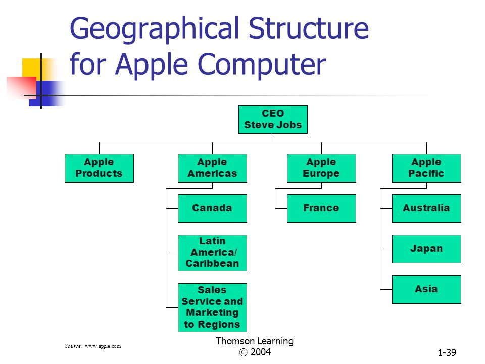 Thomson Learning © 20041-38 Structural Design Options for Grouping Employees (Continued) Horizontal Grouping CEO FinanceHuman Resources Core Process 2