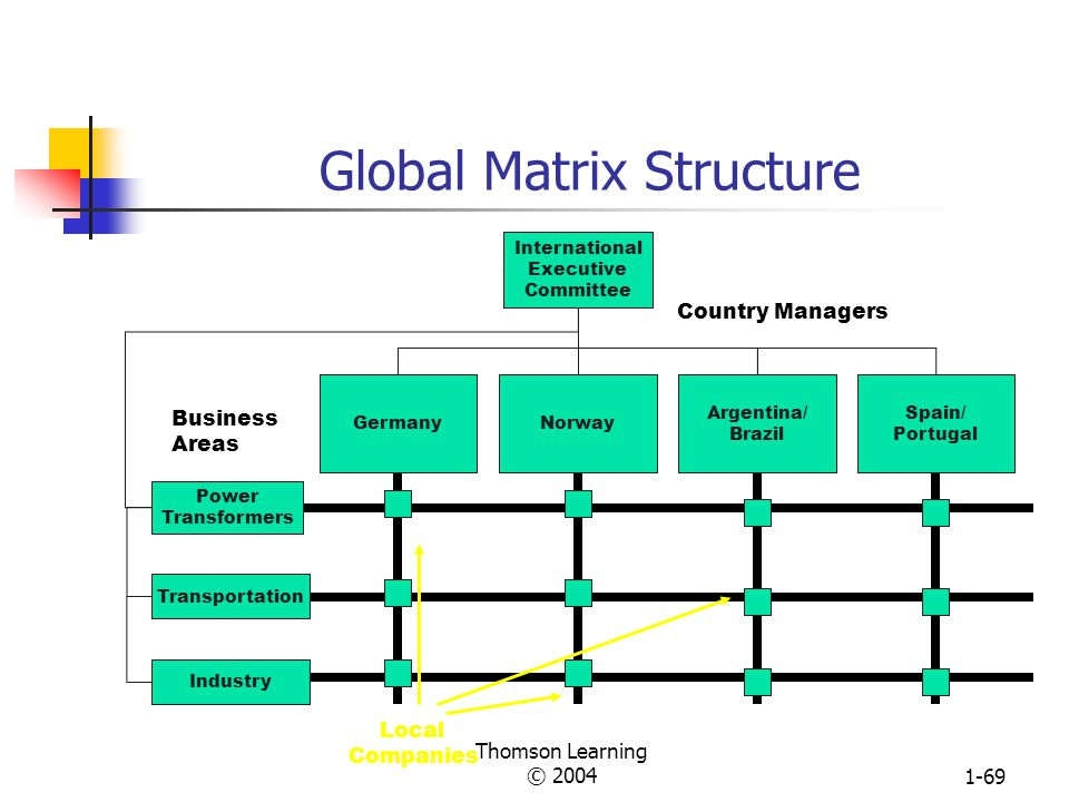 Thomson Learning © 20041-68 Partial Global Product Structure Used by Eaton Corporation EngineeringPresidentInternational Law & Corporate Relations Cha
