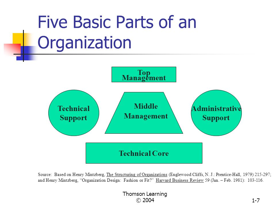 Thomson Learning © 20041-6 Transformation Process An Open System and Its Subsystems Environment Raw Materials People Information resources Financial resources Input Subsystems Boundary Spanning Production, Maintenance, Adaptation, Management Boundary Spanning Products and Services Output