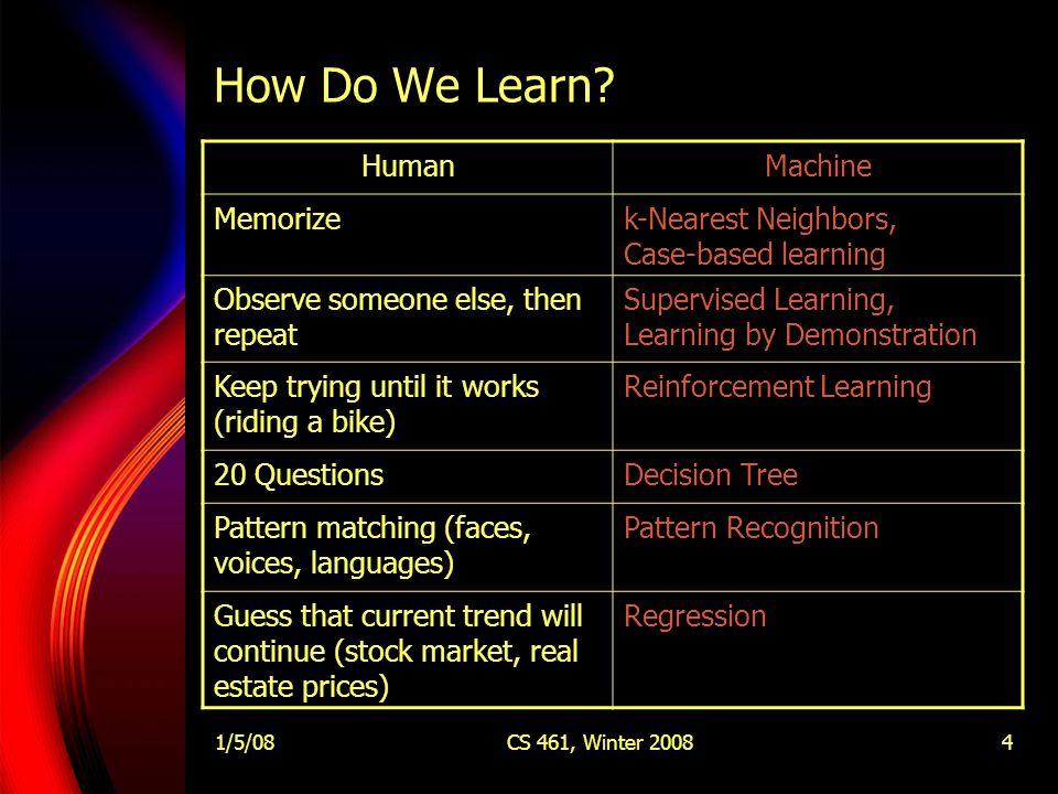 1/5/08CS 461, Winter 20084 How Do We Learn.