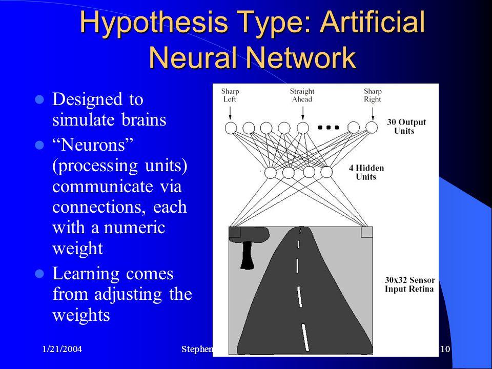 "1/21/2004Stephen Scott, Univ. of Nebraska10 Hypothesis Type: Artificial Neural Network Designed to simulate brains ""Neurons"" (processing units) commun"