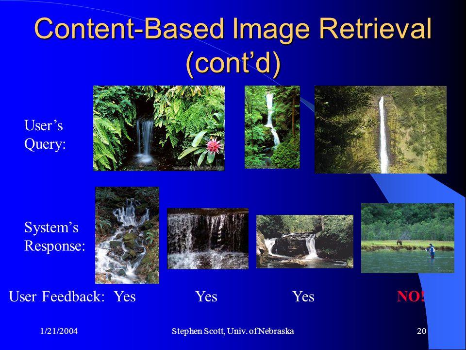 1/21/2004Stephen Scott, Univ. of Nebraska20 Content-Based Image Retrieval (cont'd) User's Query: System's Response: Yes NO!User Feedback: