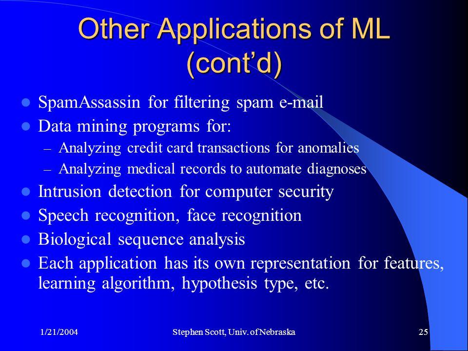 1/21/2004Stephen Scott, Univ. of Nebraska25 Other Applications of ML (cont'd) SpamAssassin for filtering spam e-mail Data mining programs for: – Analy