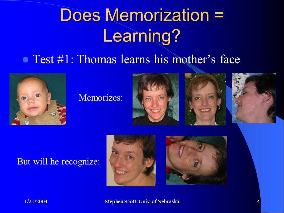 1/21/2004Stephen Scott, Univ. of Nebraska4 Does Memorization = Learning? Test #1: Thomas learns his mother's face Memorizes: But will he recognize:
