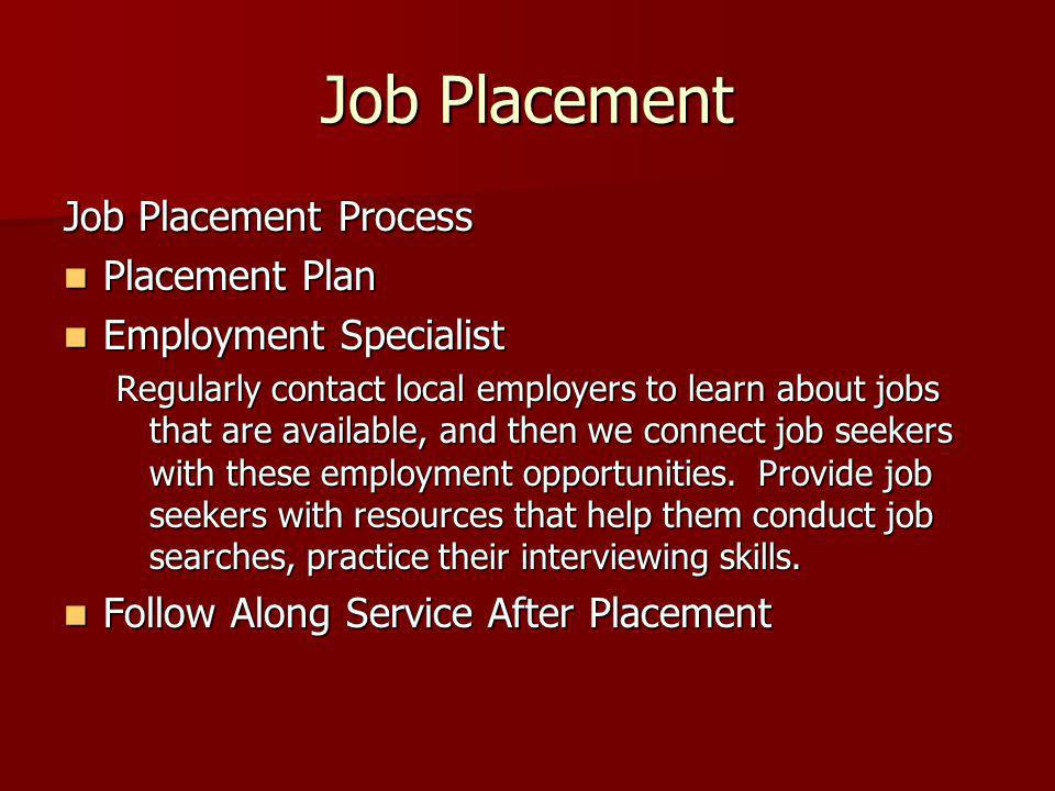 Job Placement Job Placement Process Placement Plan Placement Plan Employment Specialist Employment Specialist Regularly contact local employers to lea