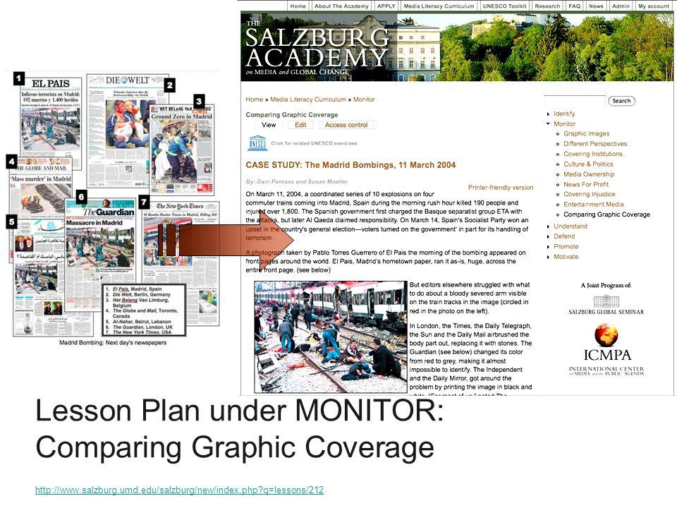Lesson Plan under MONITOR: Comparing Graphic Coverage http://www.salzburg.umd.edu/salzburg/new/index.php q=lessons/212 http://www.salzburg.umd.edu/salzburg/new/index.php q=lessons/212