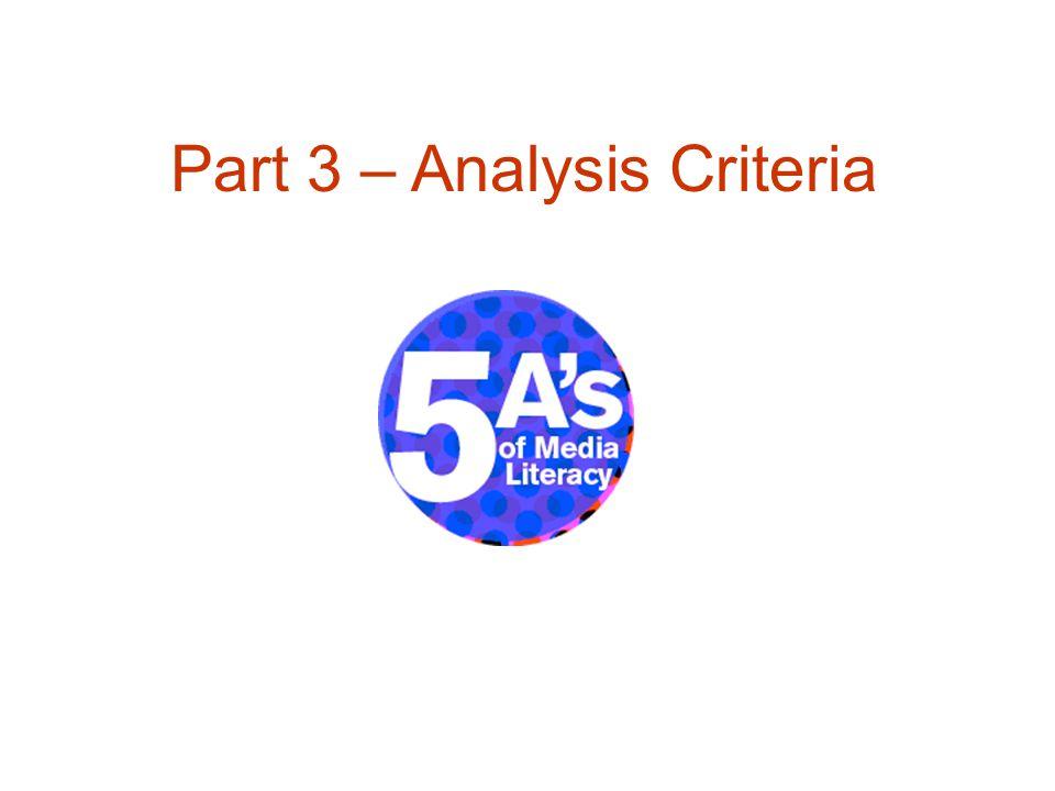 Part 3 – Analysis Criteria
