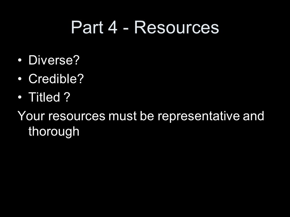 Part 4 - Resources Diverse Credible Titled Your resources must be representative and thorough