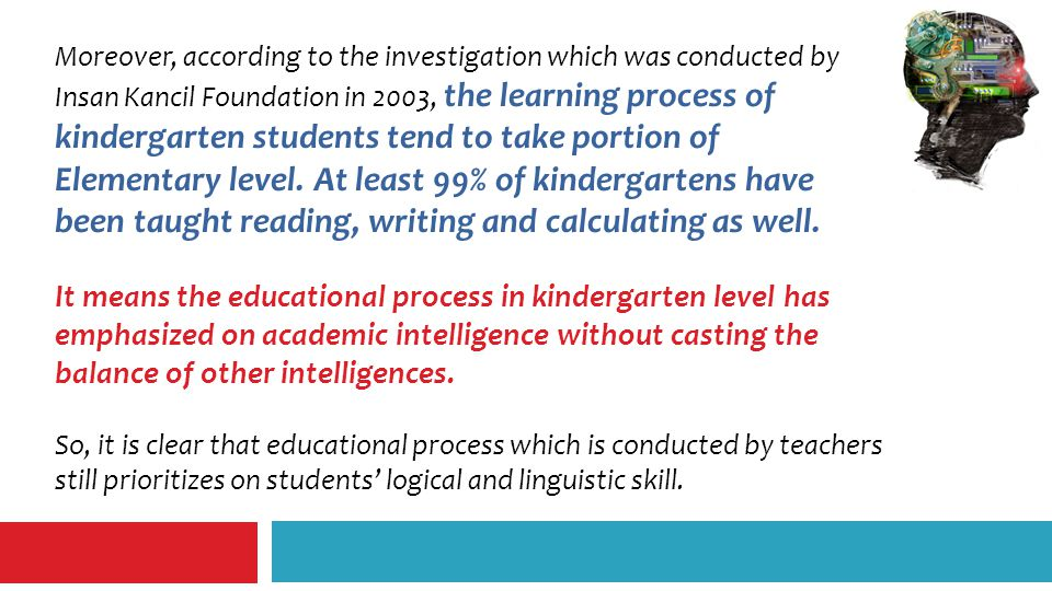 Moreover, according to the investigation which was conducted by Insan Kancil Foundation in 2003, the learning process of kindergarten students tend to take portion of Elementary level.