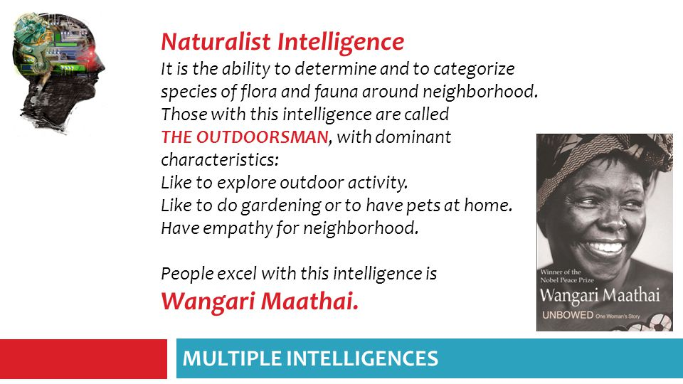Naturalist Intelligence It is the ability to determine and to categorize species of flora and fauna around neighborhood.