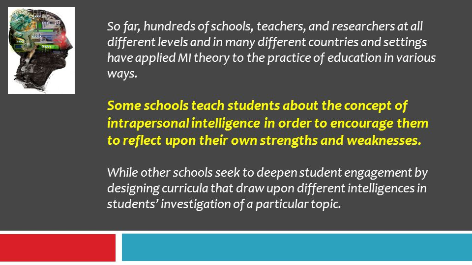 So far, hundreds of schools, teachers, and researchers at all different levels and in many different countries and settings have applied MI theory to the practice of education in various ways.