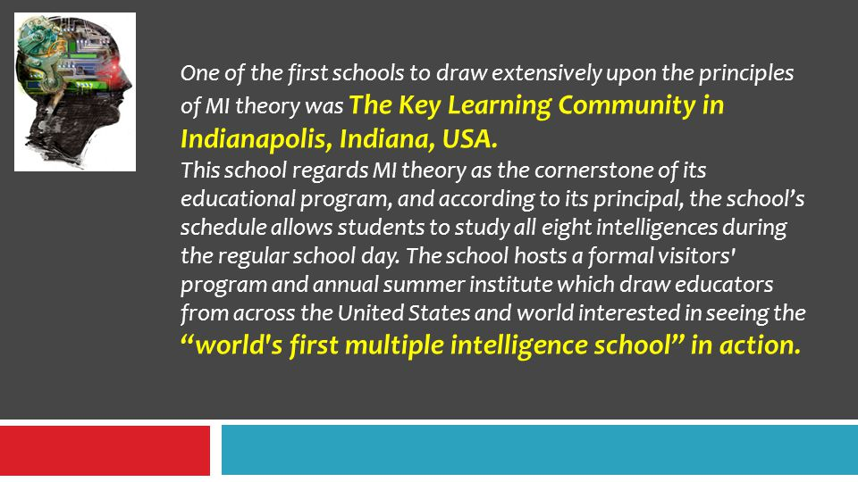 One of the first schools to draw extensively upon the principles of MI theory was The Key Learning Community in Indianapolis, Indiana, USA.