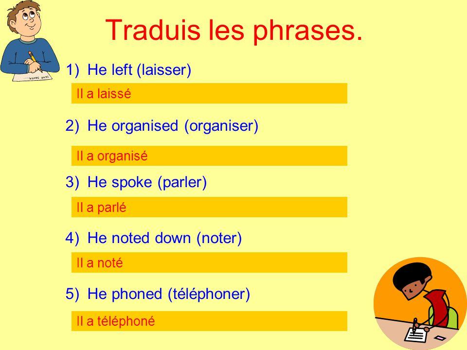 Traduis les phrases. 1) He left (laisser) 2) He organised (organiser) 3) He spoke (parler) 4) He noted down (noter) 5) He phoned (téléphoner) Il a lai