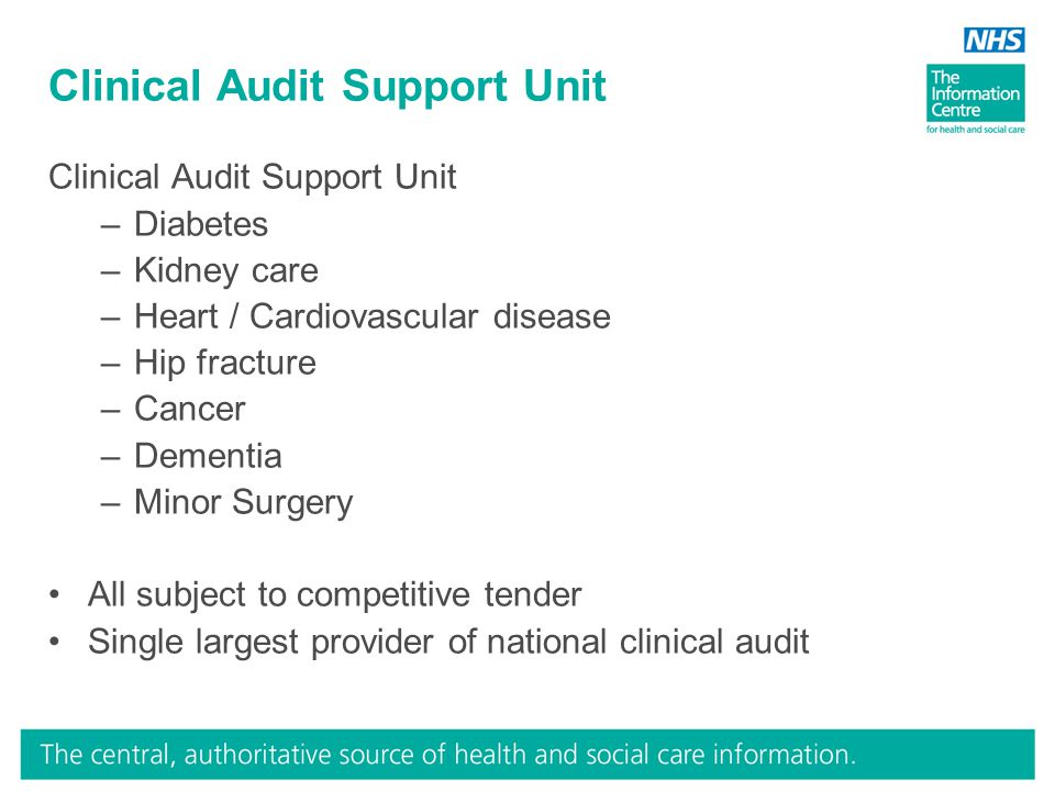 Clinical Audit Support Unit –Diabetes –Kidney care –Heart / Cardiovascular disease –Hip fracture –Cancer –Dementia –Minor Surgery All subject to competitive tender Single largest provider of national clinical audit
