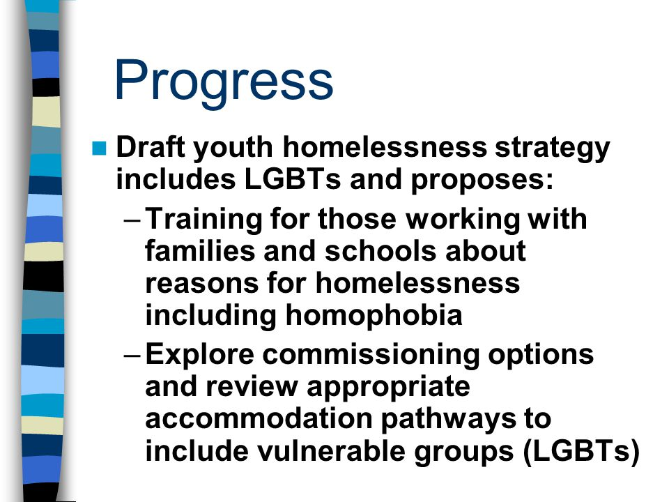 Progress Draft youth homelessness strategy includes LGBTs and proposes: –Training for those working with families and schools about reasons for homelessness including homophobia –Explore commissioning options and review appropriate accommodation pathways to include vulnerable groups (LGBTs)