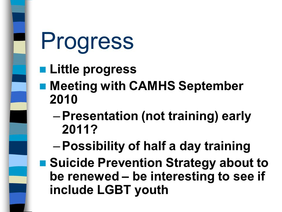 Progress Little progress Meeting with CAMHS September 2010 –Presentation (not training) early 2011? –Possibility of half a day training Suicide Preven
